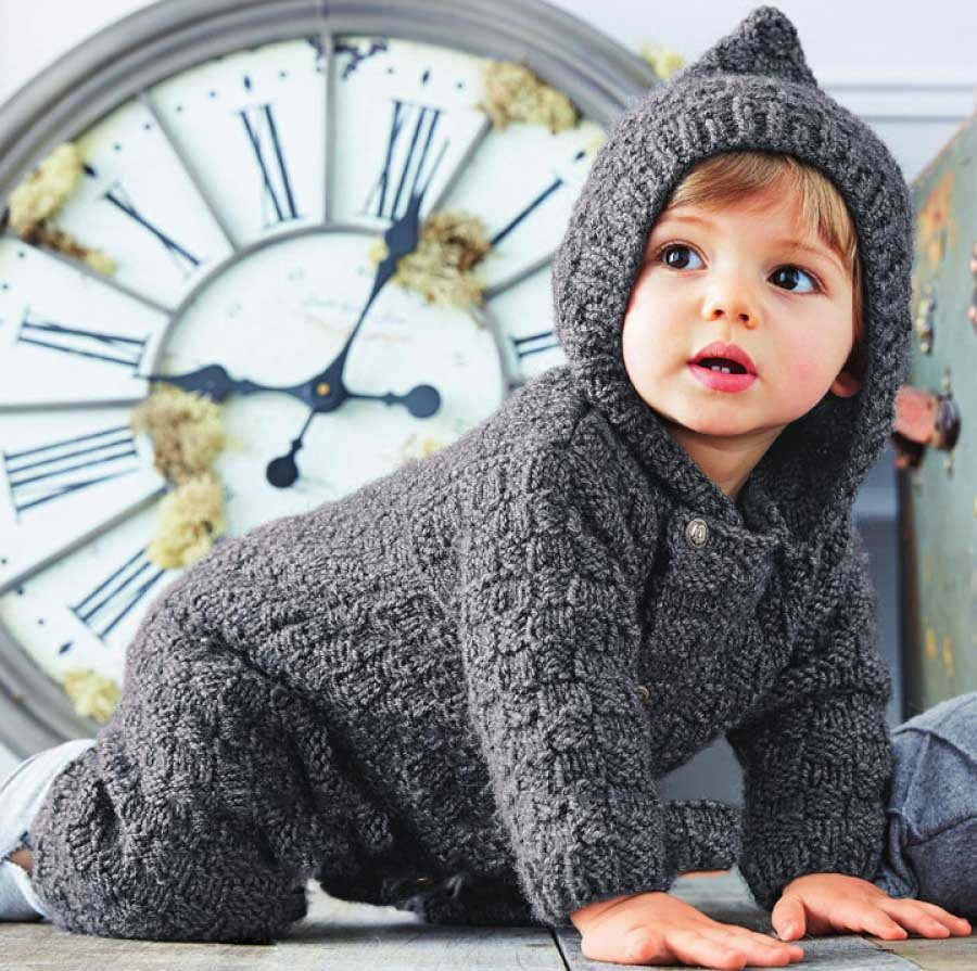 Вязание детский комбинезон с капюшоном 36