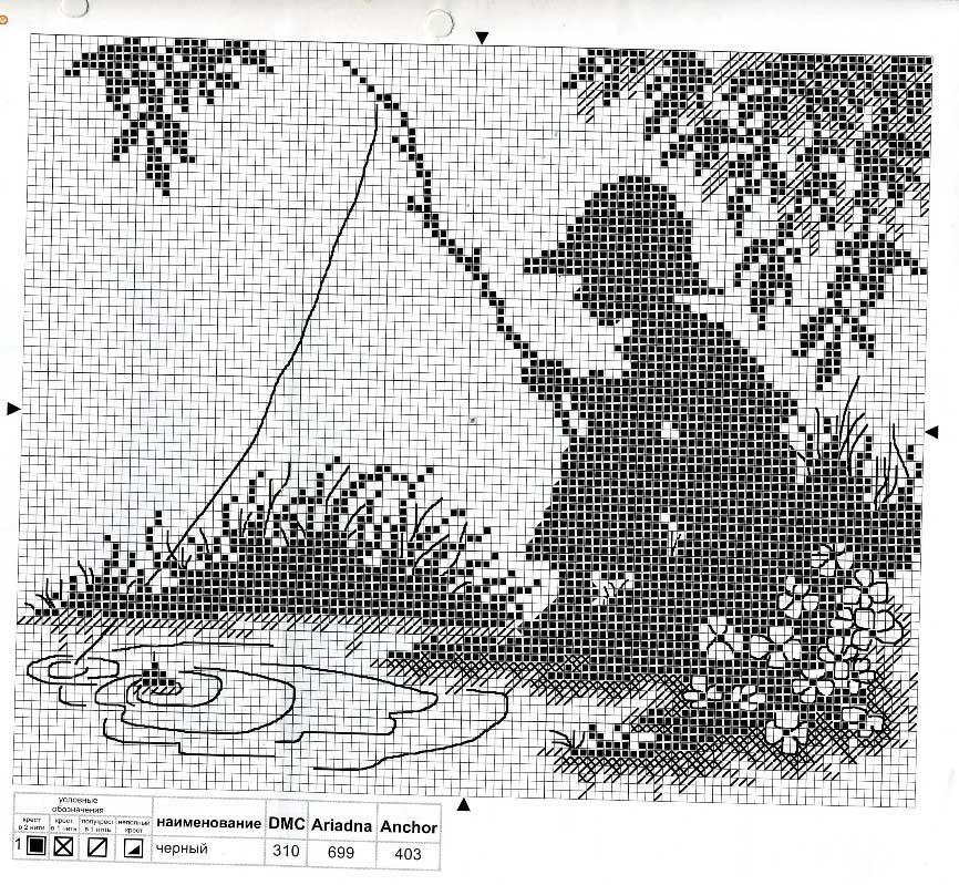 Вышивка крестиком в черно белых тонах 48
