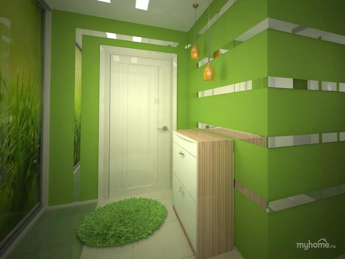 Прихожая дизайн в зеленом цвете