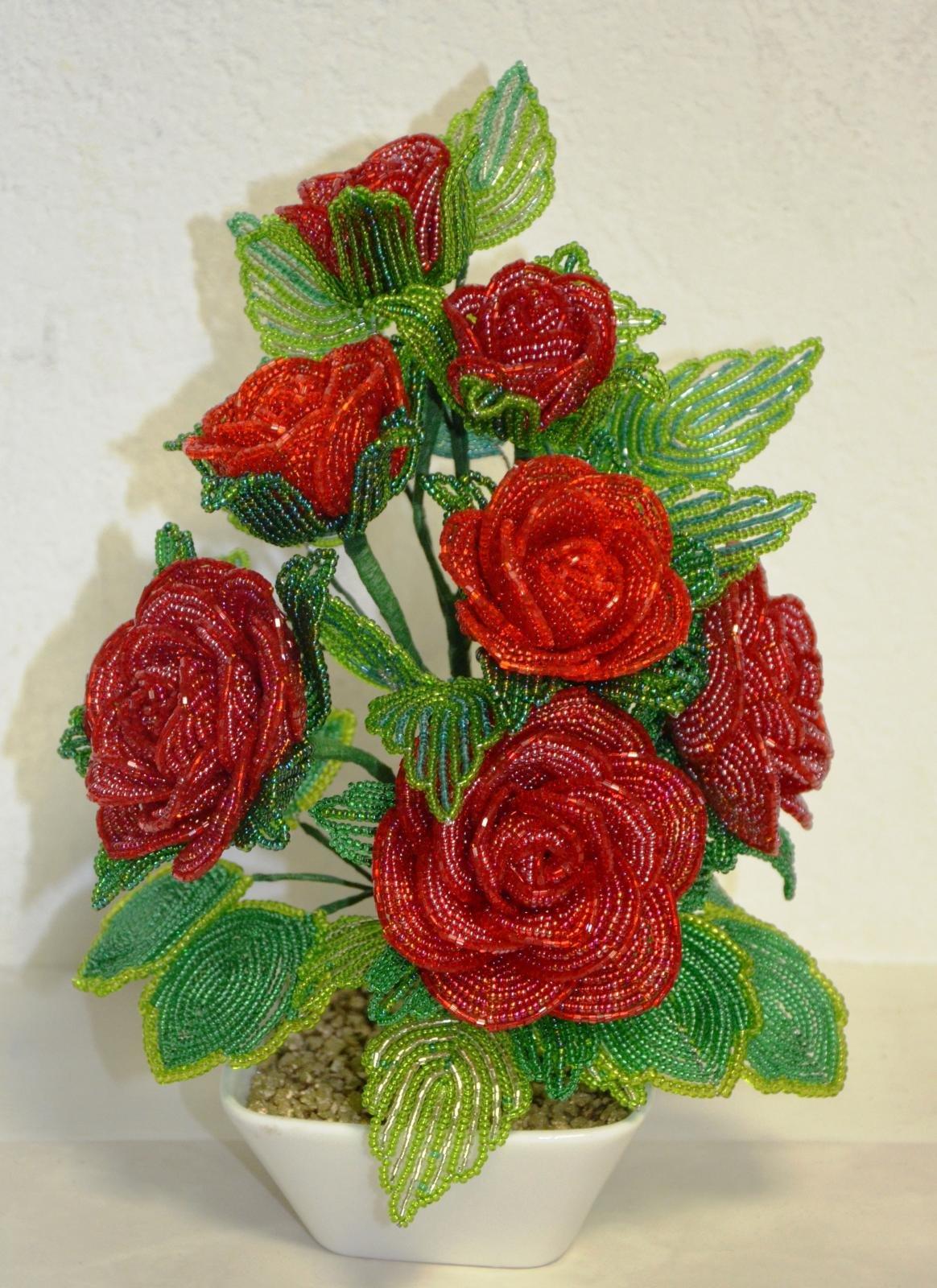 Куст роза из бисера мастер класс с пошаговым фото