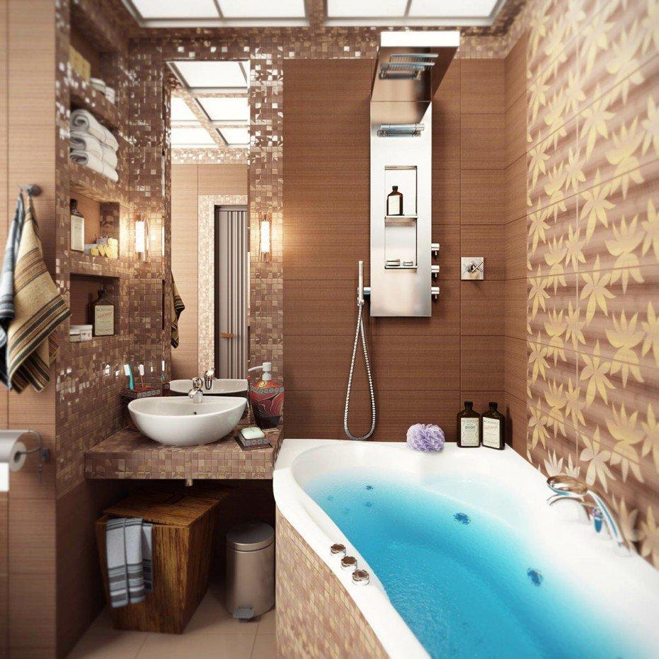 Дизайн ванной с узкой плиткой