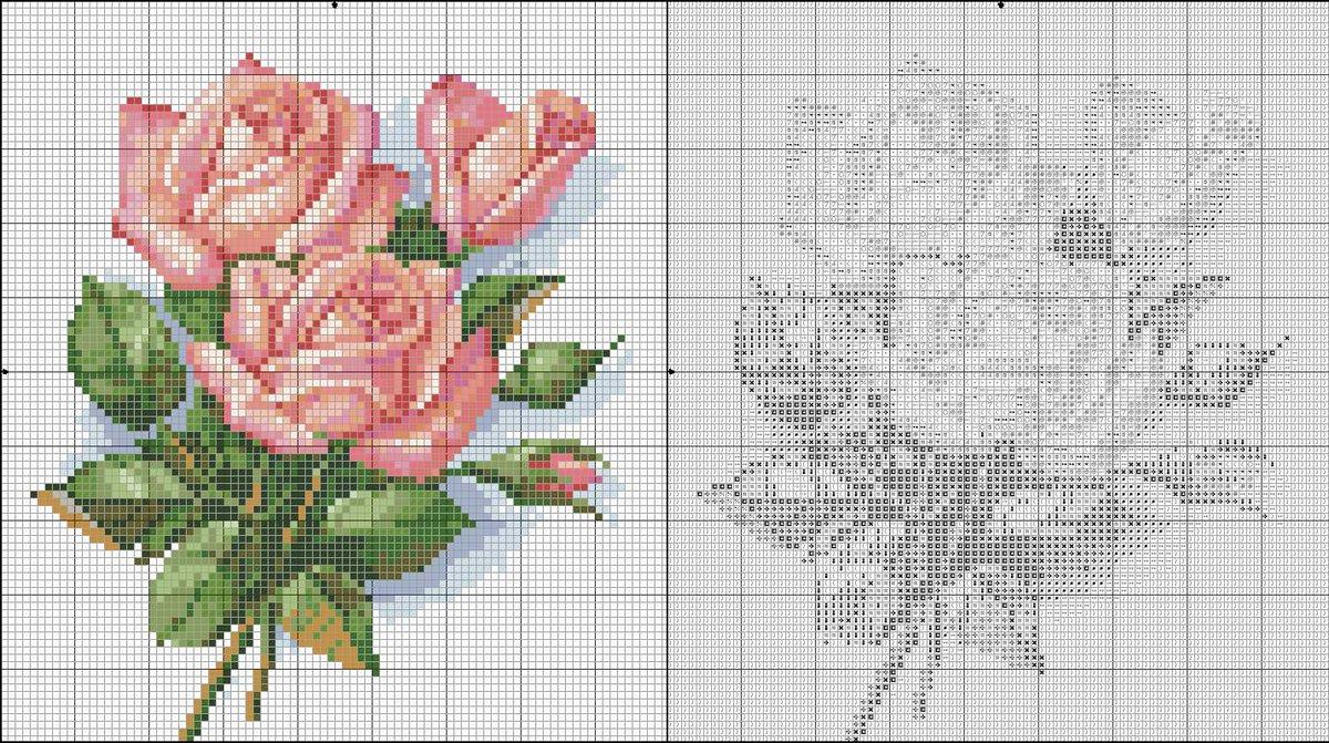 Цветы, розы, букеты - Схемы вышивки бисером. Иконы, картины