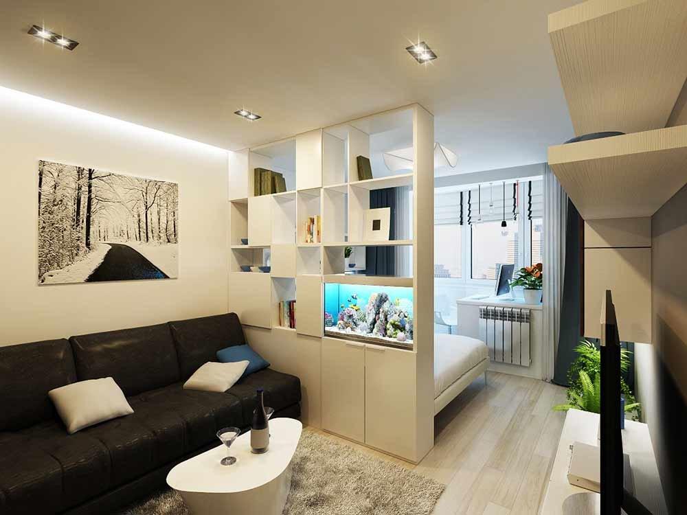Интерьер однокомнатной квартиры 44 кв.м фото в современном стиле