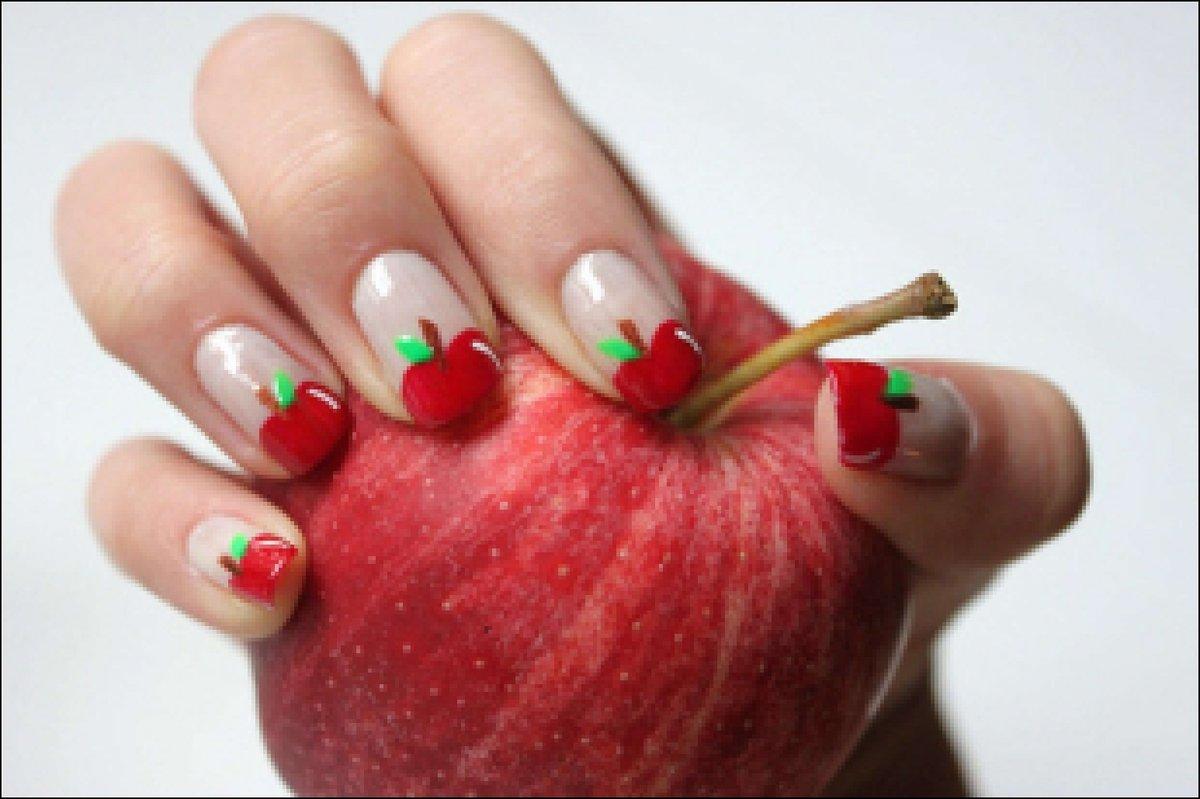 Дизайн ногтей зеленое яблоко