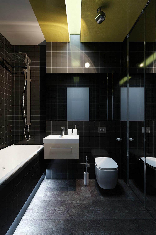 Фото дизайн ванных комнат в темных тонах