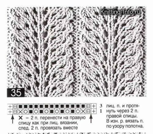 Вязание спицами схема мотыльки и косы 67