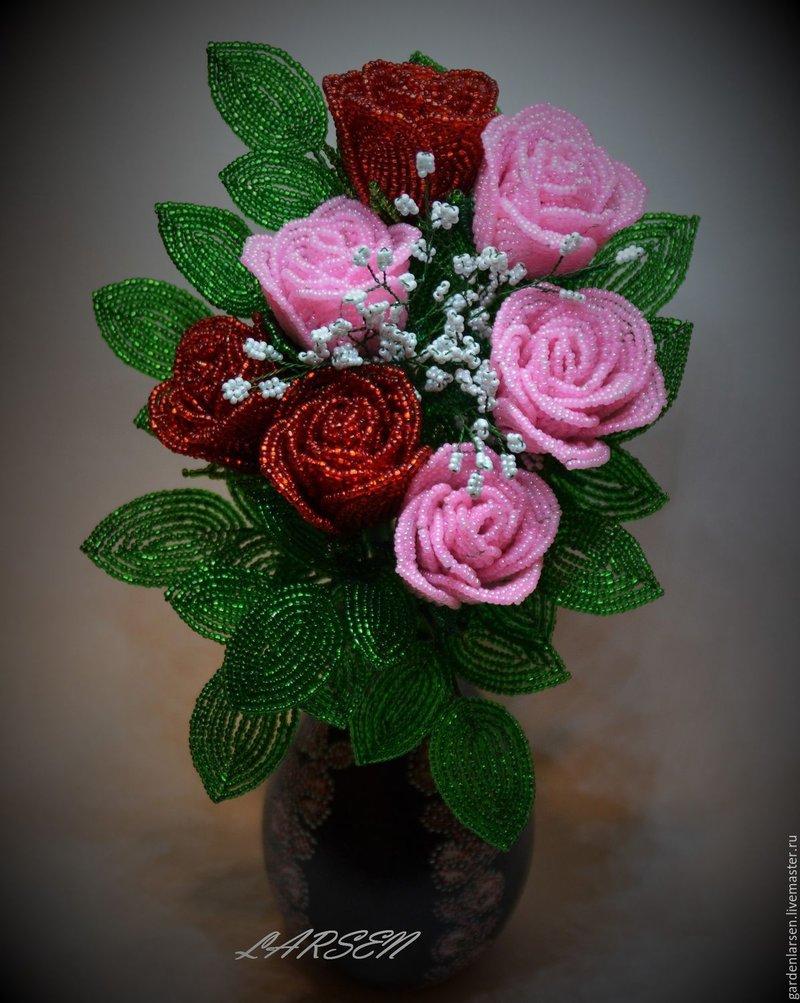 Как сделать бисер букет роза