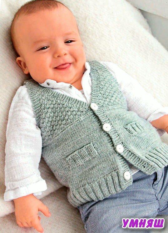 Вязание спицами жилетка для малыша 6