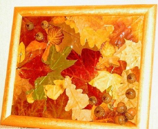 Панно своими руками на тему осень из природного материала 366