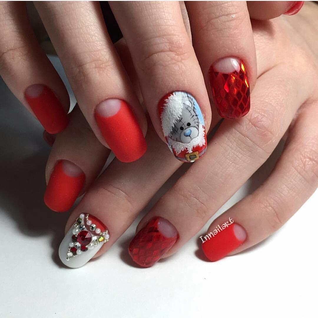 Дизайн ногтей 2018 фото новинки новогодние красные