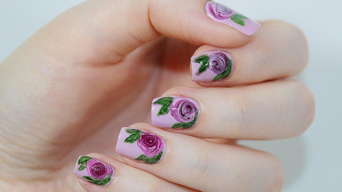 Ногти с наклейками фото розы
