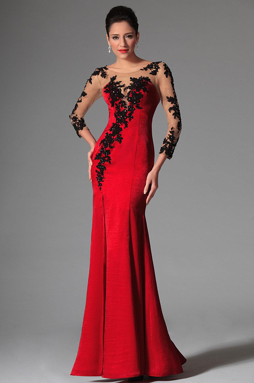 Черное платье с красными цветами в пол фото