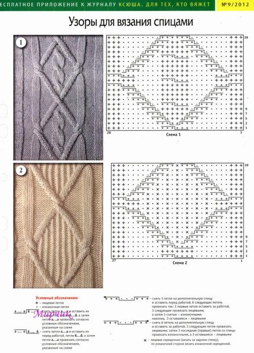 Простые схемы для вязания спицами с описанием  511