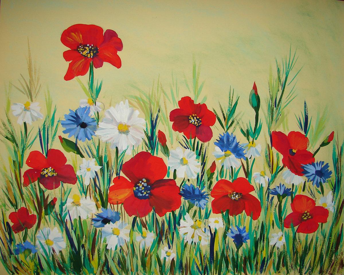 Нарисовать полевые цветы фото