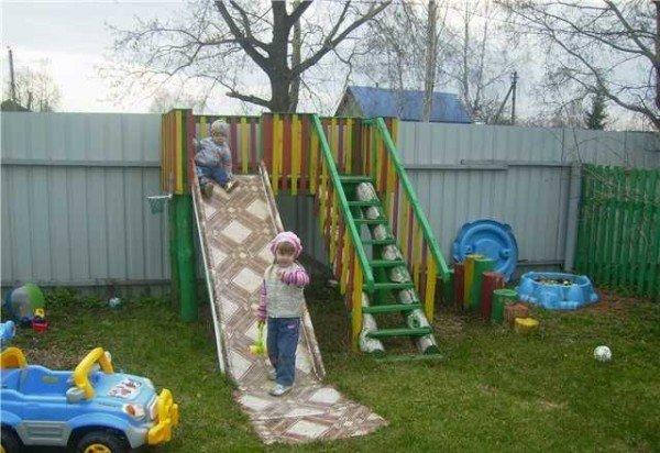 Детская площадка, песочница, качели из подручных материалов своими руками