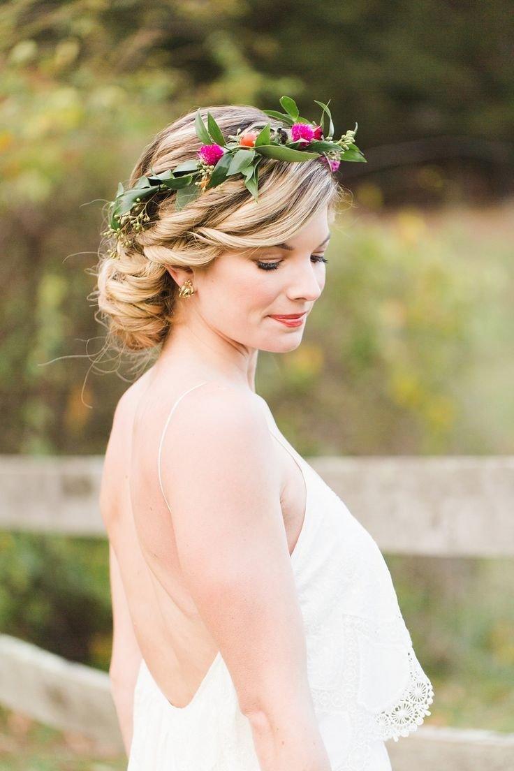 Свадебная прическа короткие волосы венком