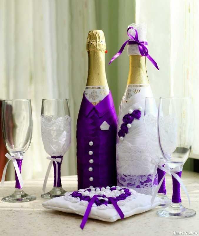 Как красиво украсить бутылку на свадьбу своими руками 54