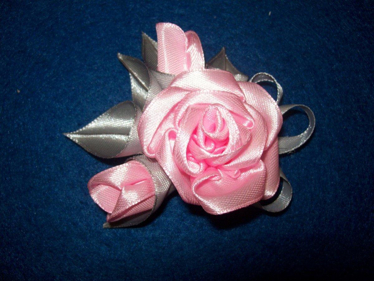 Мастер класс роза из атласной ленты 2.5 см своими руками
