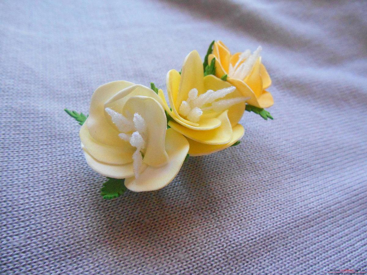 Заколки с цветами из фоамирана мастер класс с пошаговым фото