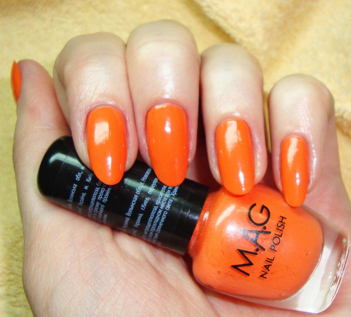 Оранжевый маникюр - 56 оригинальных идей