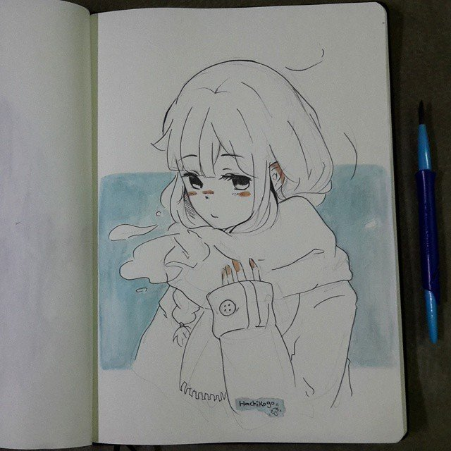 Скетчбуки с рисунками аниме