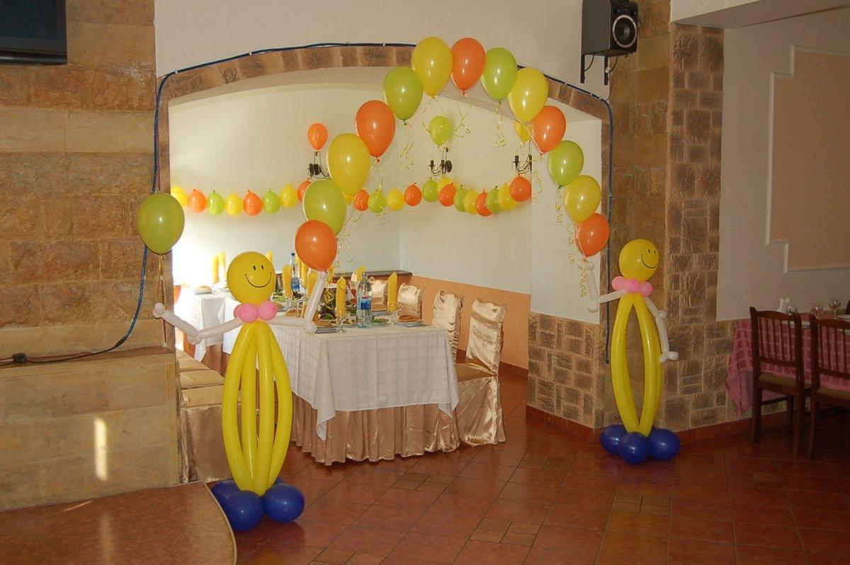 Украшение зала шарами на детское день рождения фото