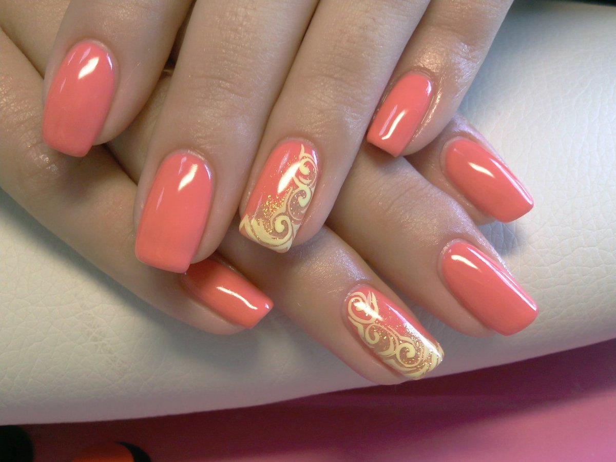 Фото красивых рисунков на ногтях коралловые 129