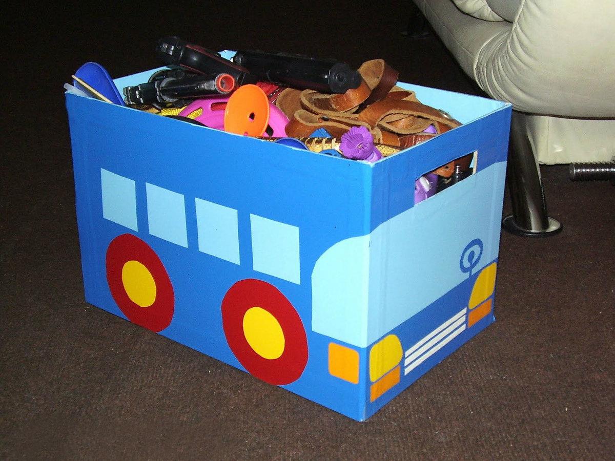 Коробка для игрушек своими руками из картонной