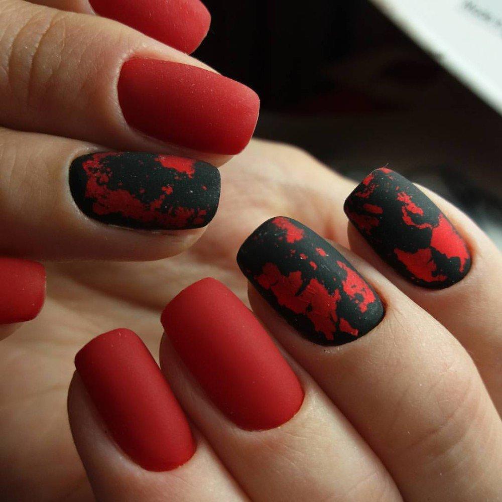 Красный матовый цвет на ногтях фото
