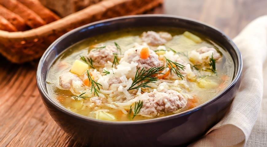 Суп с фрикадельками с рисом рецепт пошагово с фото