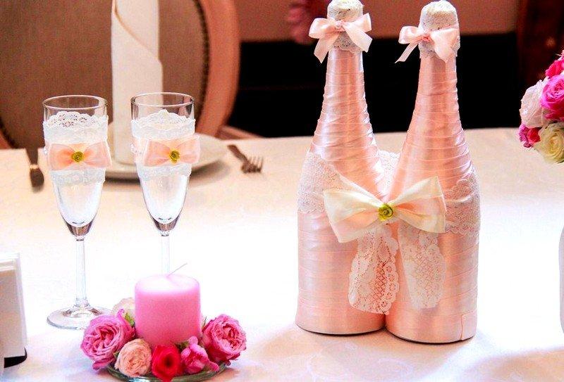 Украшение шампанского на свадьбу фото своими руками