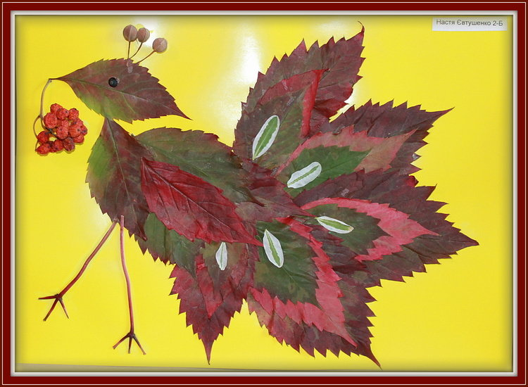 Жар-птица поделка из листьев