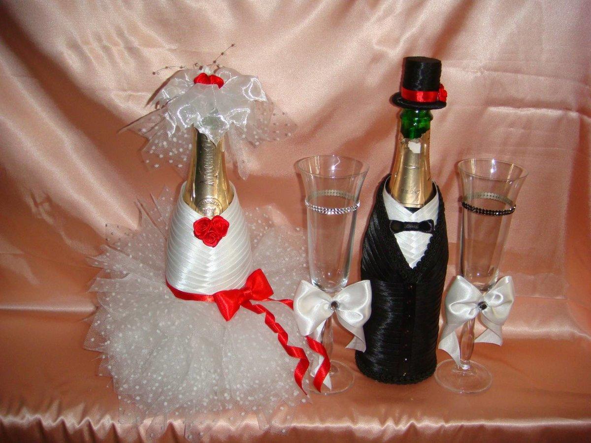 Украсить свадебное шампанское своими руками мастер класс 50