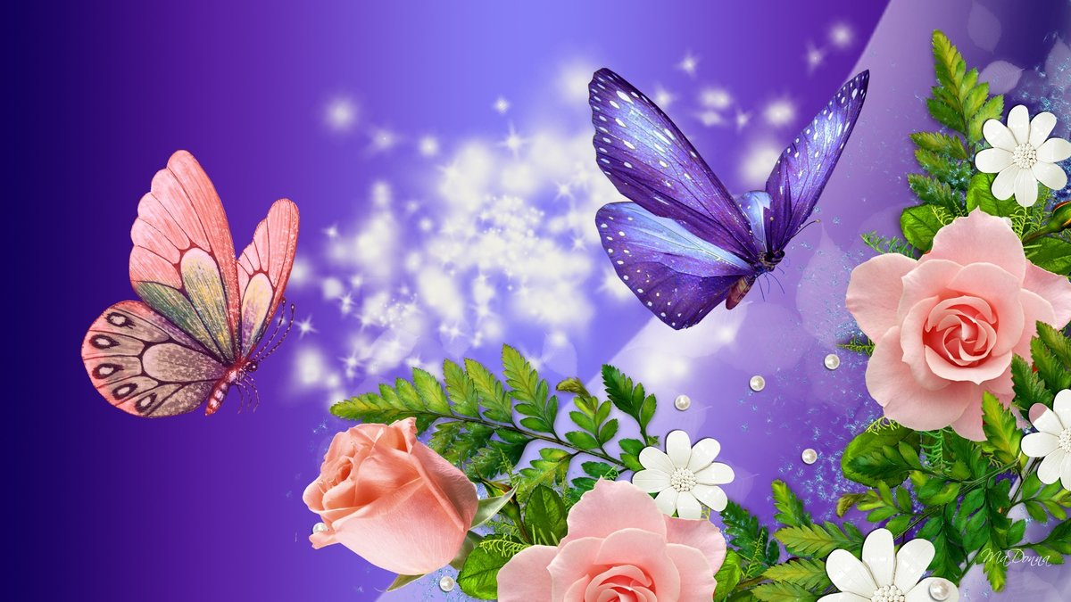 Открытка с бабочками анимация