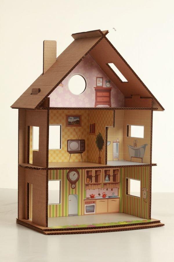 Как сделать домик для кукол барби своими руками из коробки или картона 94