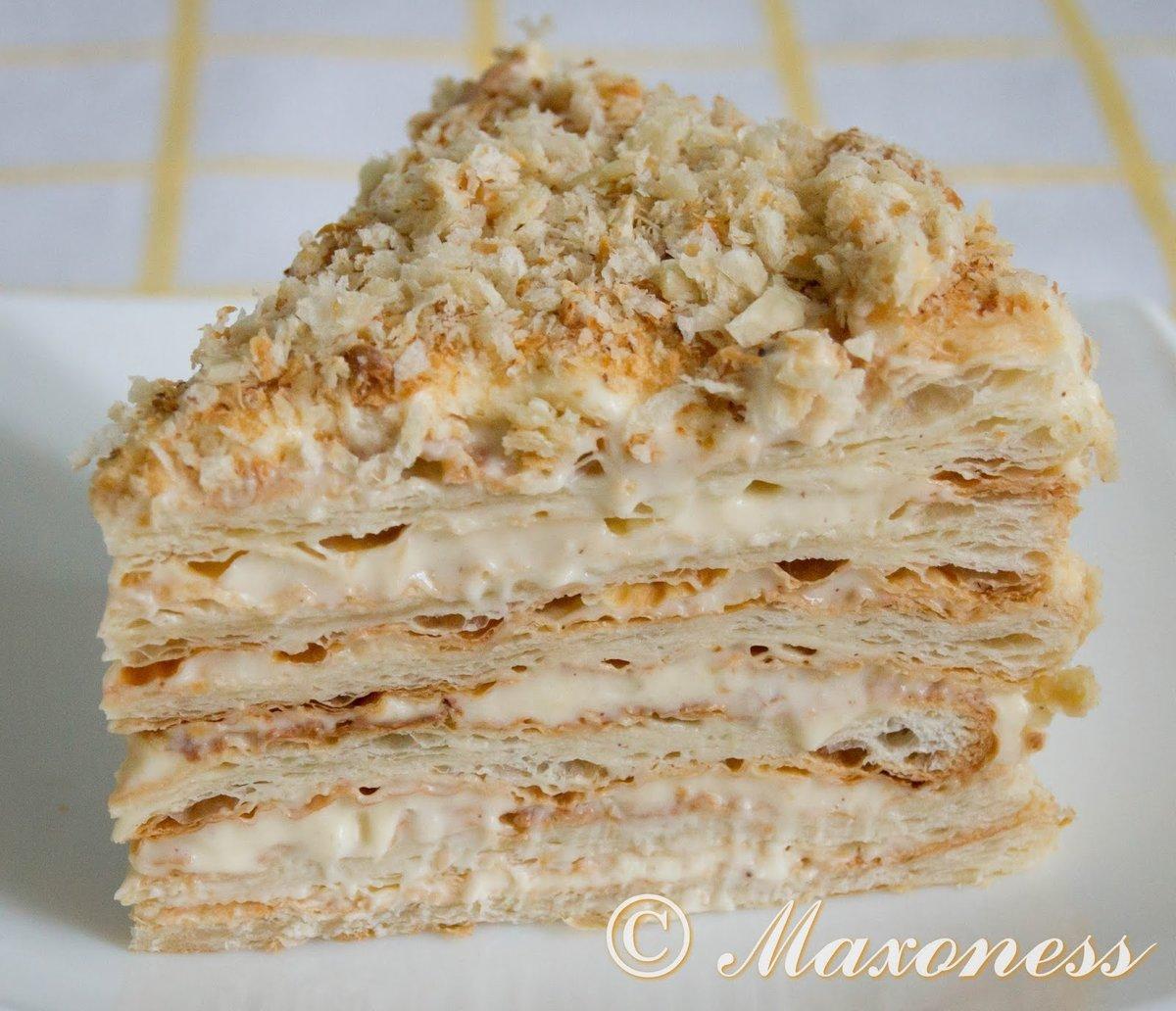 Слоеный торт наполеон из слоеного теста рецепт