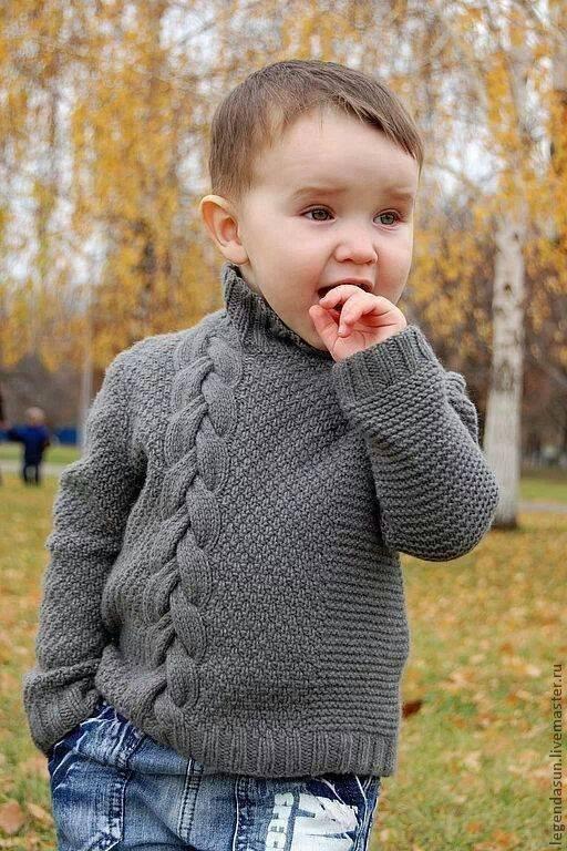 Вязанные свитера для мальчика спицами на
