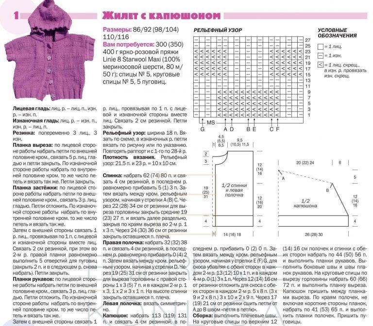 Схемы вязания жилеток для новорожденных спицами 797