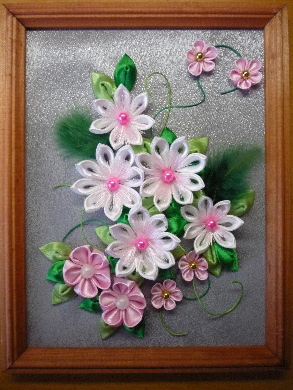 Картина цветы из атласных лент своими руками