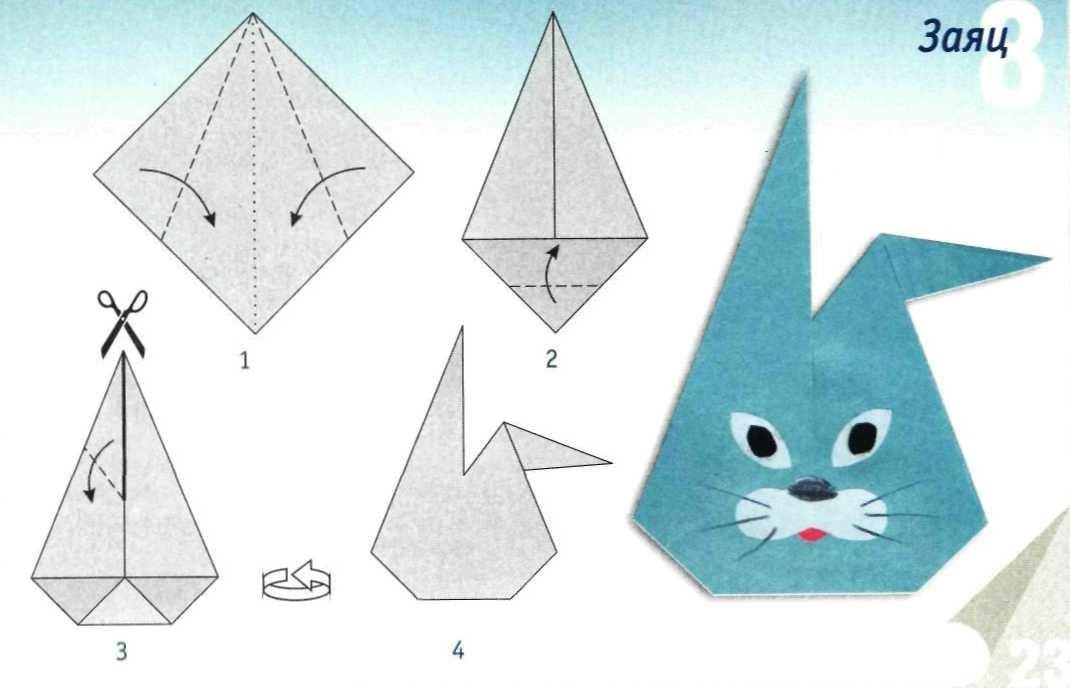 Оригами схема заяц детям