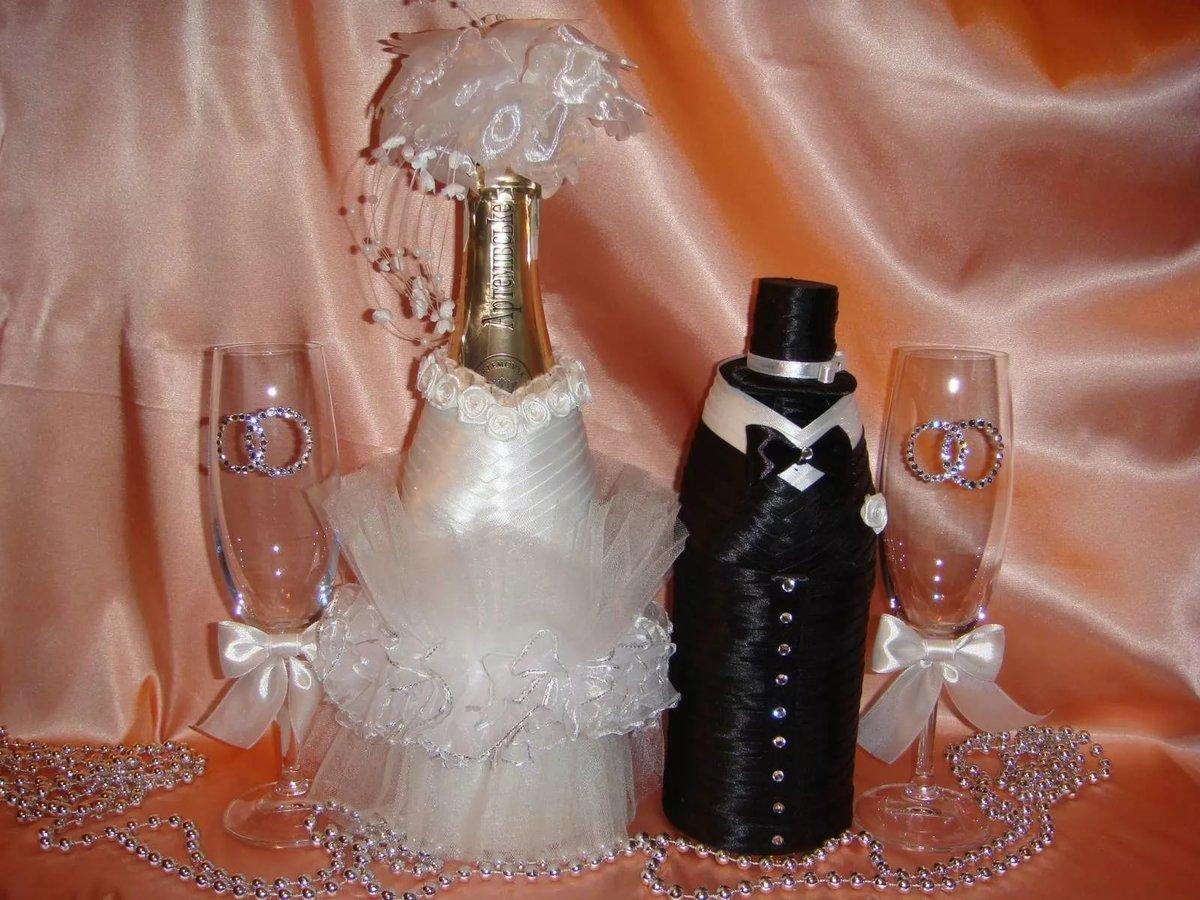 Свадебное оформление шампанского своими руками мастер класс