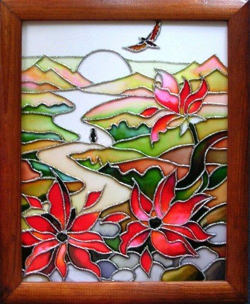 Трафареты витражей красками на стекле своими руками 9
