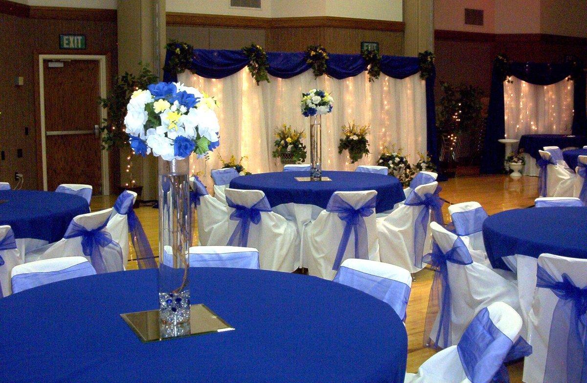Украшение зала на свадьбу в синем цвете дизайн