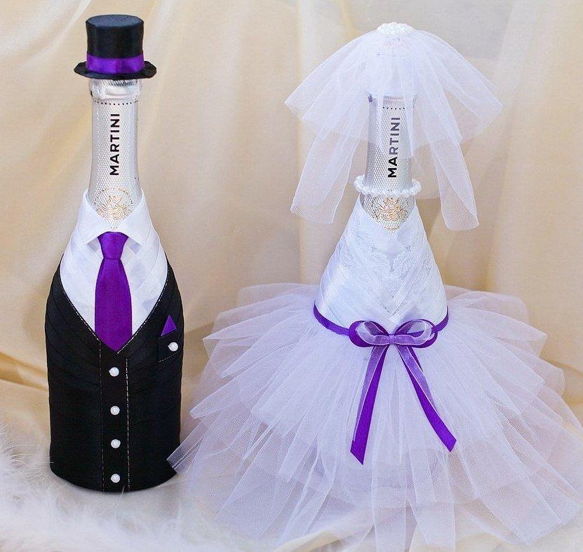Как красиво украсить бутылку на свадьбу своими руками 49