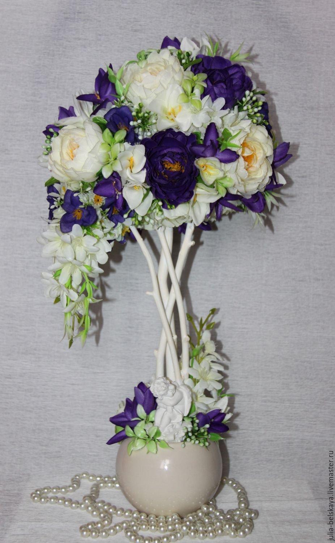 Напольный топиарий из искусственных цветов своими руками