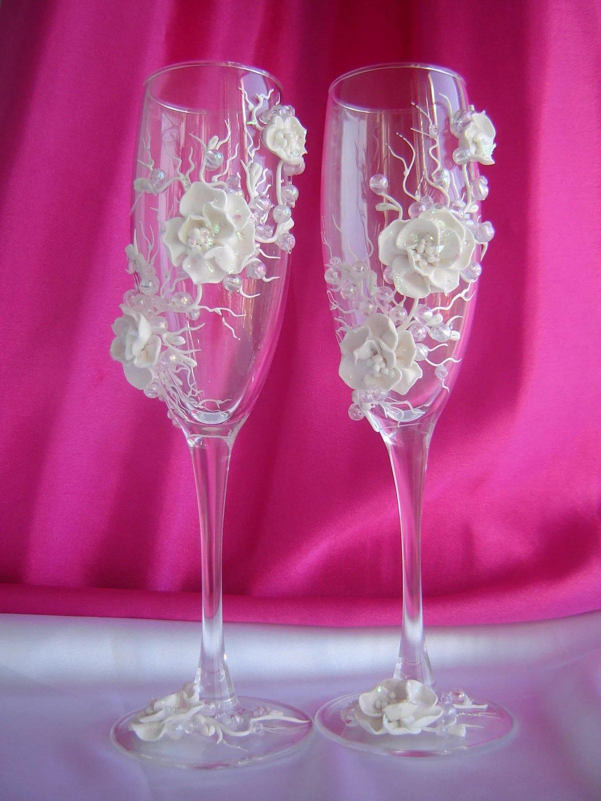 Украшение бокалов на свадьбу своими руками фото