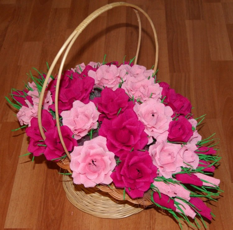 Корзинка для цветов из гофрированной бумаги своими руками 641