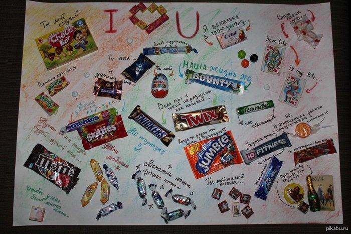 Плакат на день рождения с шоколадками и надписями своими руками