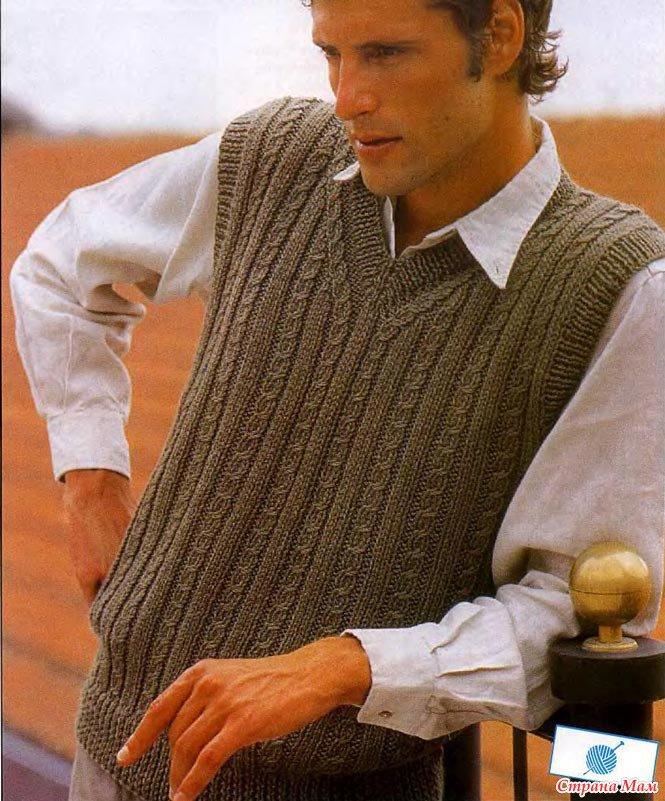 Вязание спицами безрукавок для мужчин