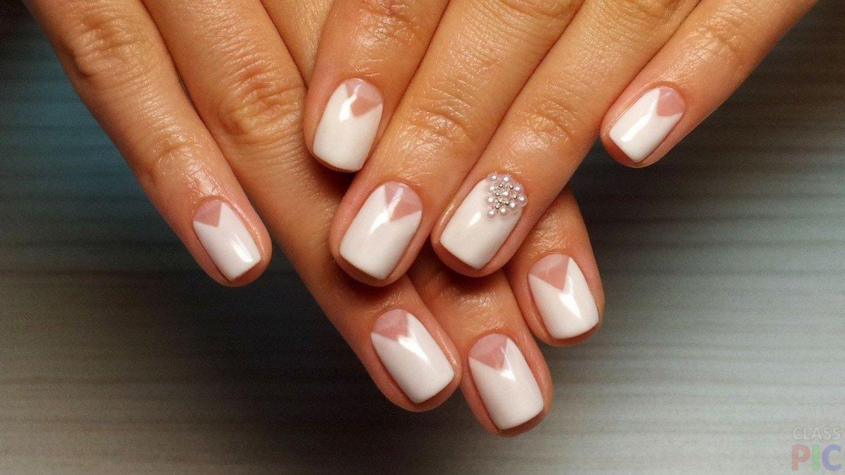 Фото свадебного маникюра гель лаком на короткие ногти